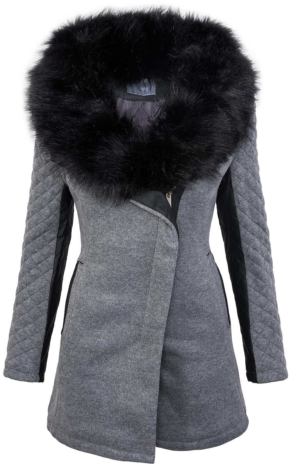 Damen designer winter jacke schwarzer fellkragen jacke mantel wintermantel d 234 - Schwarzer wintermantel damen ...