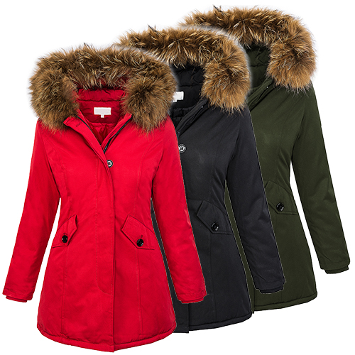 damen designer winter jacke parka outdoor jacke damenjacke echtfell kapuze d 204 ebay. Black Bedroom Furniture Sets. Home Design Ideas