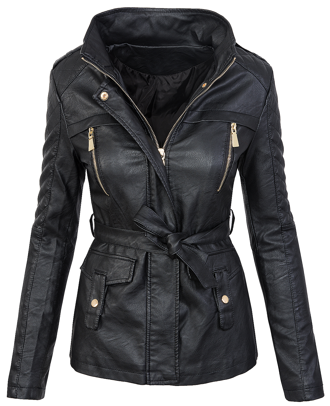 ladies faux leather jacket short coat look black between. Black Bedroom Furniture Sets. Home Design Ideas