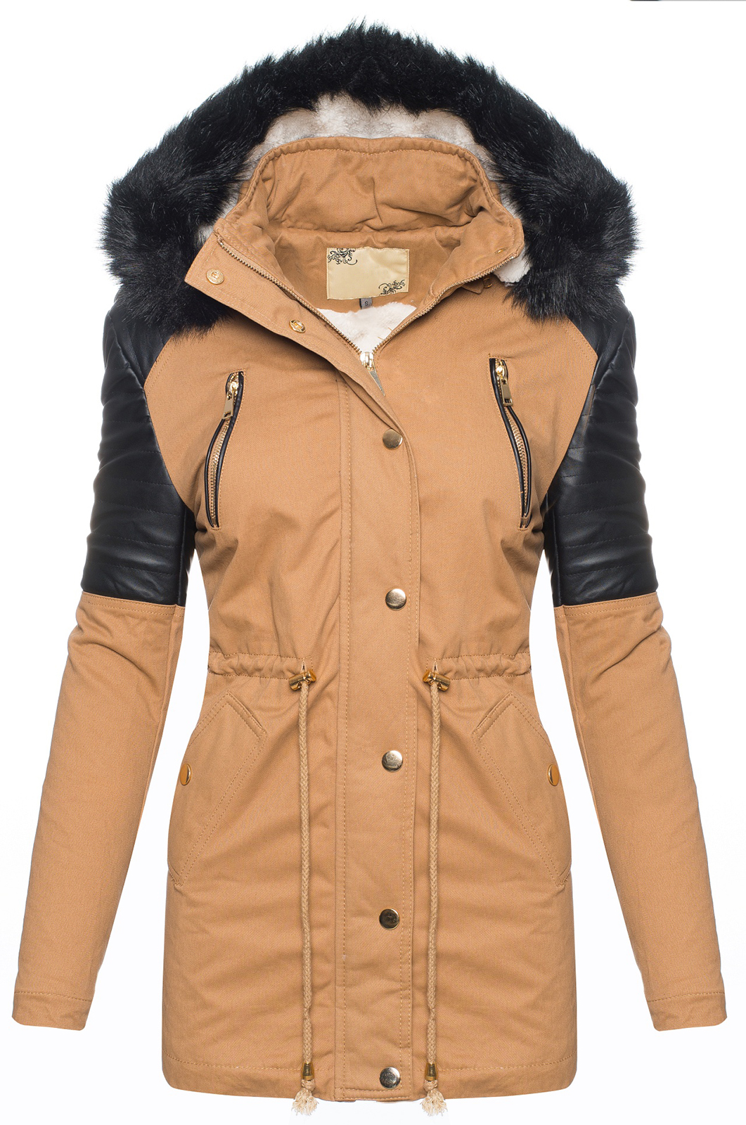 damen winter jacke damenjacke parka mit teddyfell gef ttert kapuze winterjacke ebay. Black Bedroom Furniture Sets. Home Design Ideas