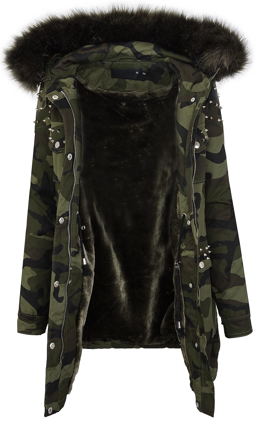 damen winter parka jacke army look damenjacke kunstfell kapuze mit nieten d 231 ebay. Black Bedroom Furniture Sets. Home Design Ideas