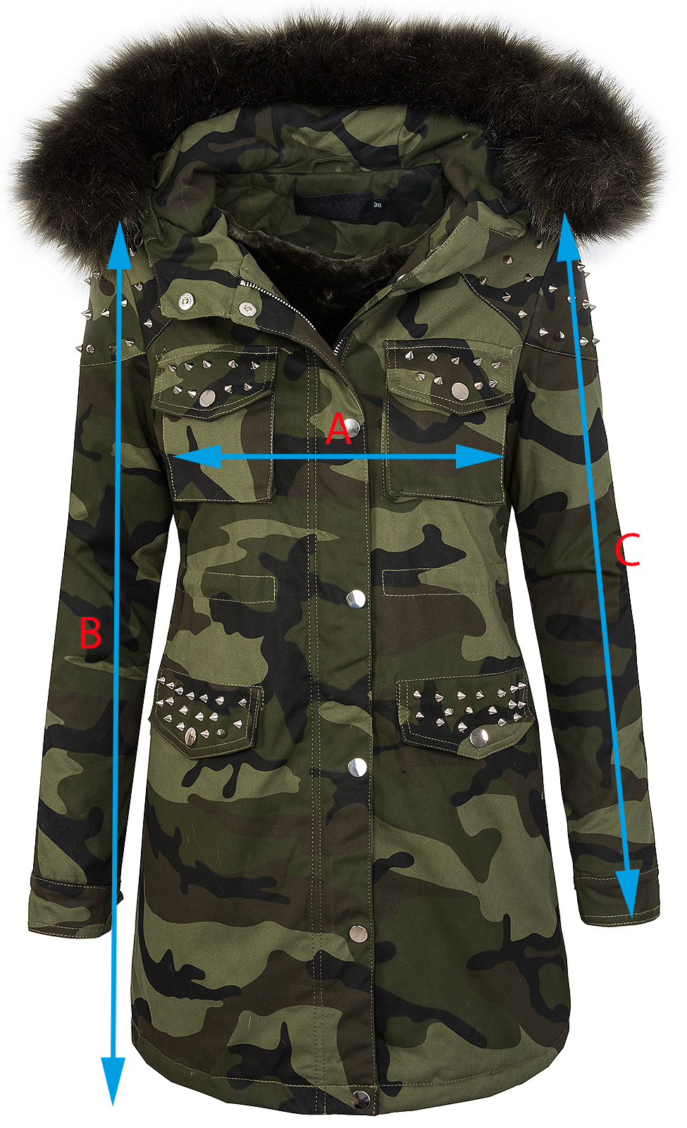 damen winter parka jacke army look damenjacke kunstfell kapuze mit nieten d 231 ebay. Black Bedroom Furniture Sets. Home Design Ideas