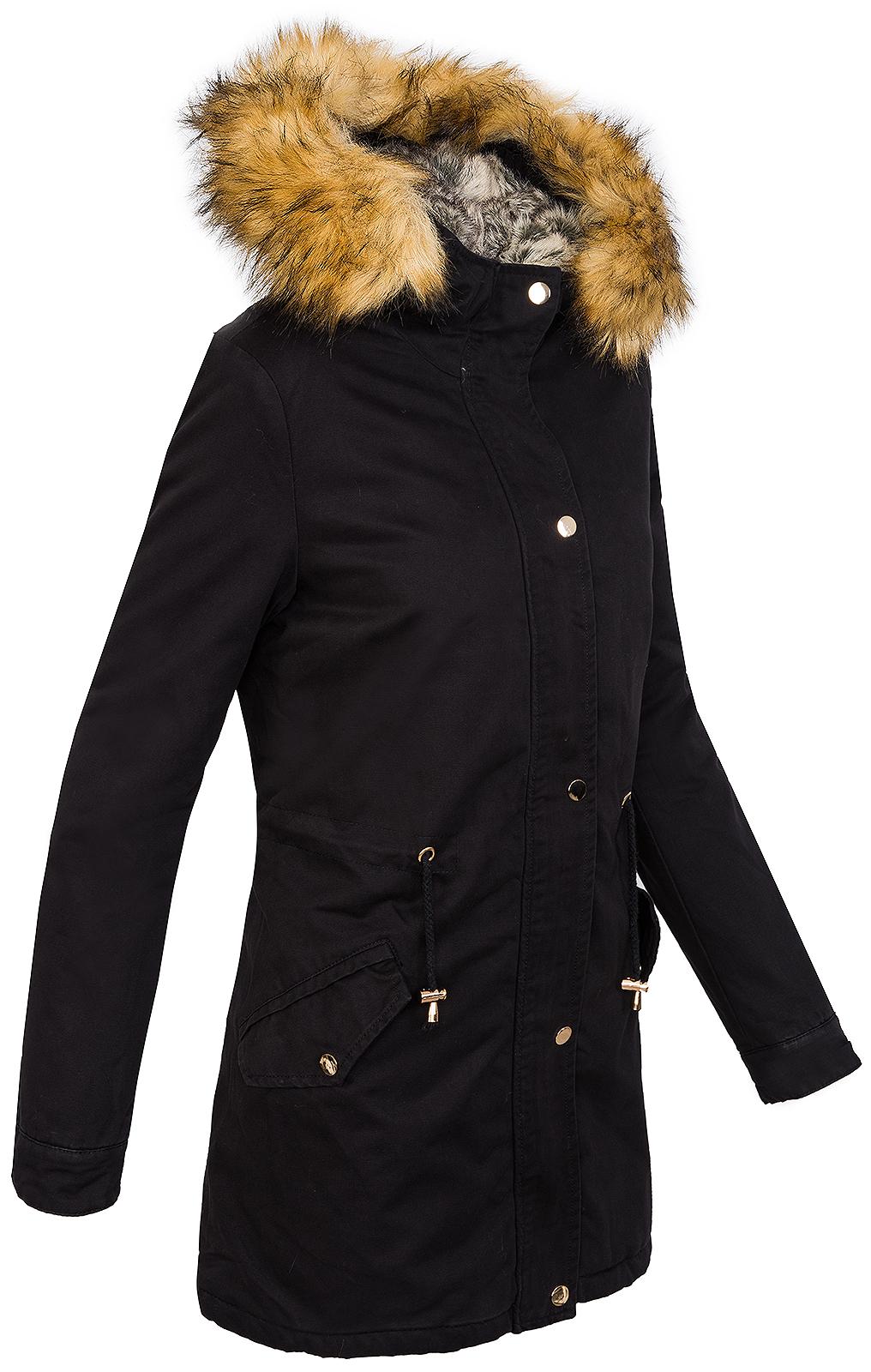 winter parka damen jacke mantel damenjacke kapuze mit kunstfell warm d 208 ebay. Black Bedroom Furniture Sets. Home Design Ideas