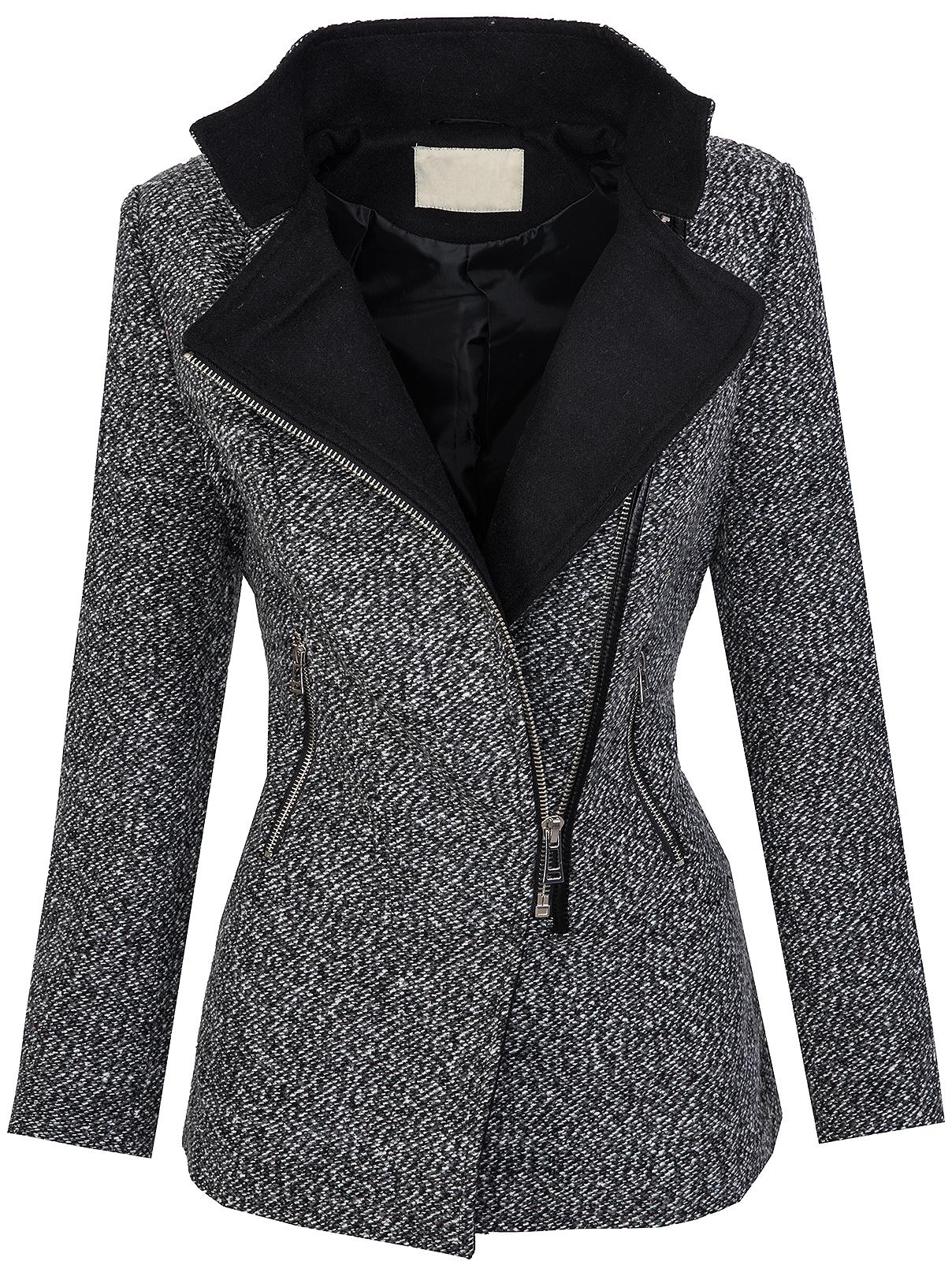 designer damen winter mantel jacke melierter woll parka. Black Bedroom Furniture Sets. Home Design Ideas