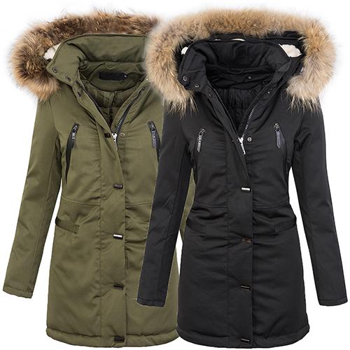 warme damen winter jacke parka lang mantel winterjacke. Black Bedroom Furniture Sets. Home Design Ideas