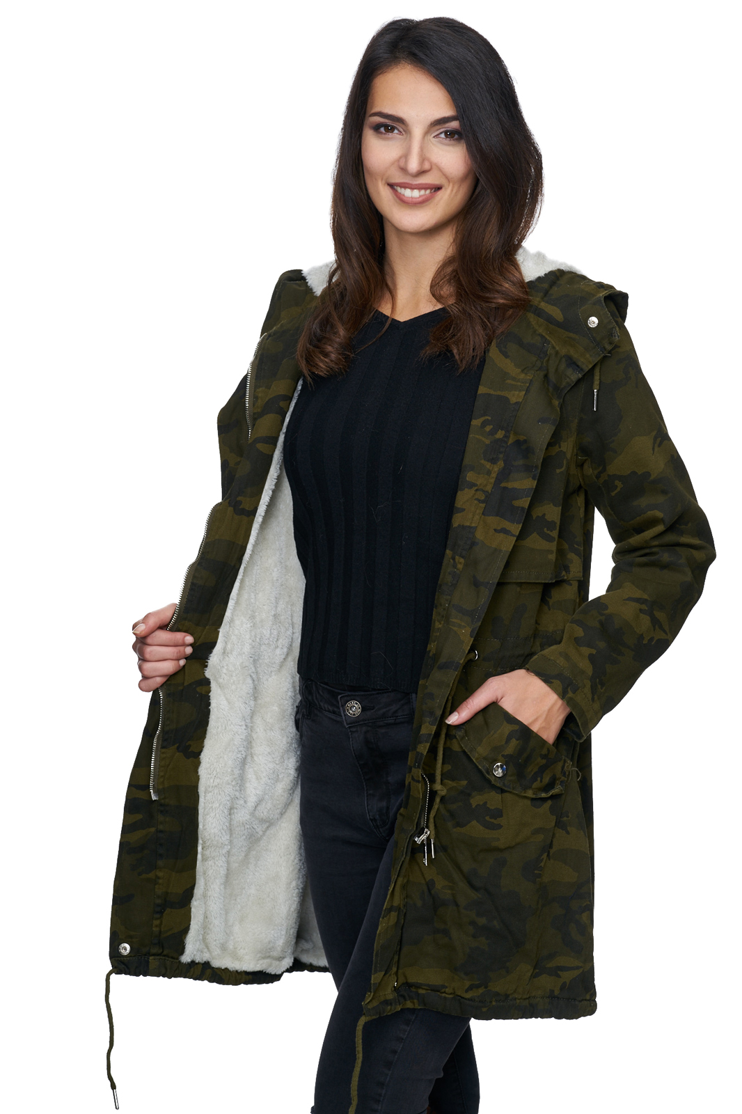 damen winter jacke camouflage mantel warm parka gr n gelb. Black Bedroom Furniture Sets. Home Design Ideas