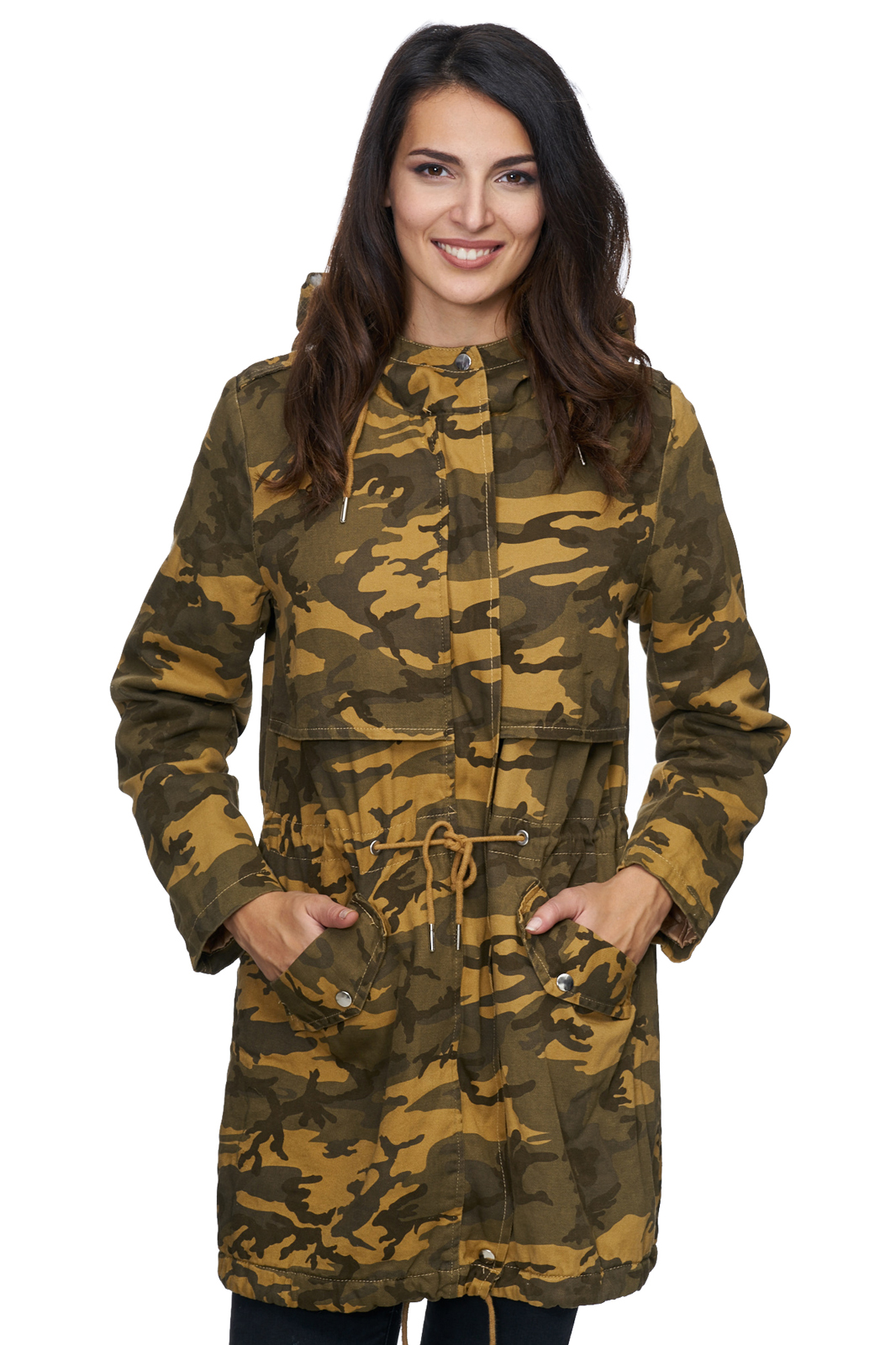 damen winter jacke camouflage mantel warm parka gr n gelb d 235 neu. Black Bedroom Furniture Sets. Home Design Ideas