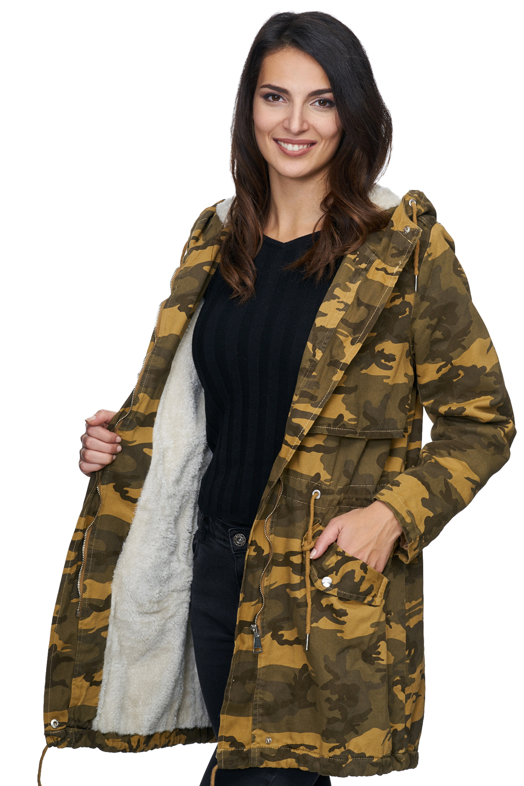 damen winter jacke camouflage mantel warm parka gr n gelb. Black Bedroom Furniture Sets. Home Design Ideas