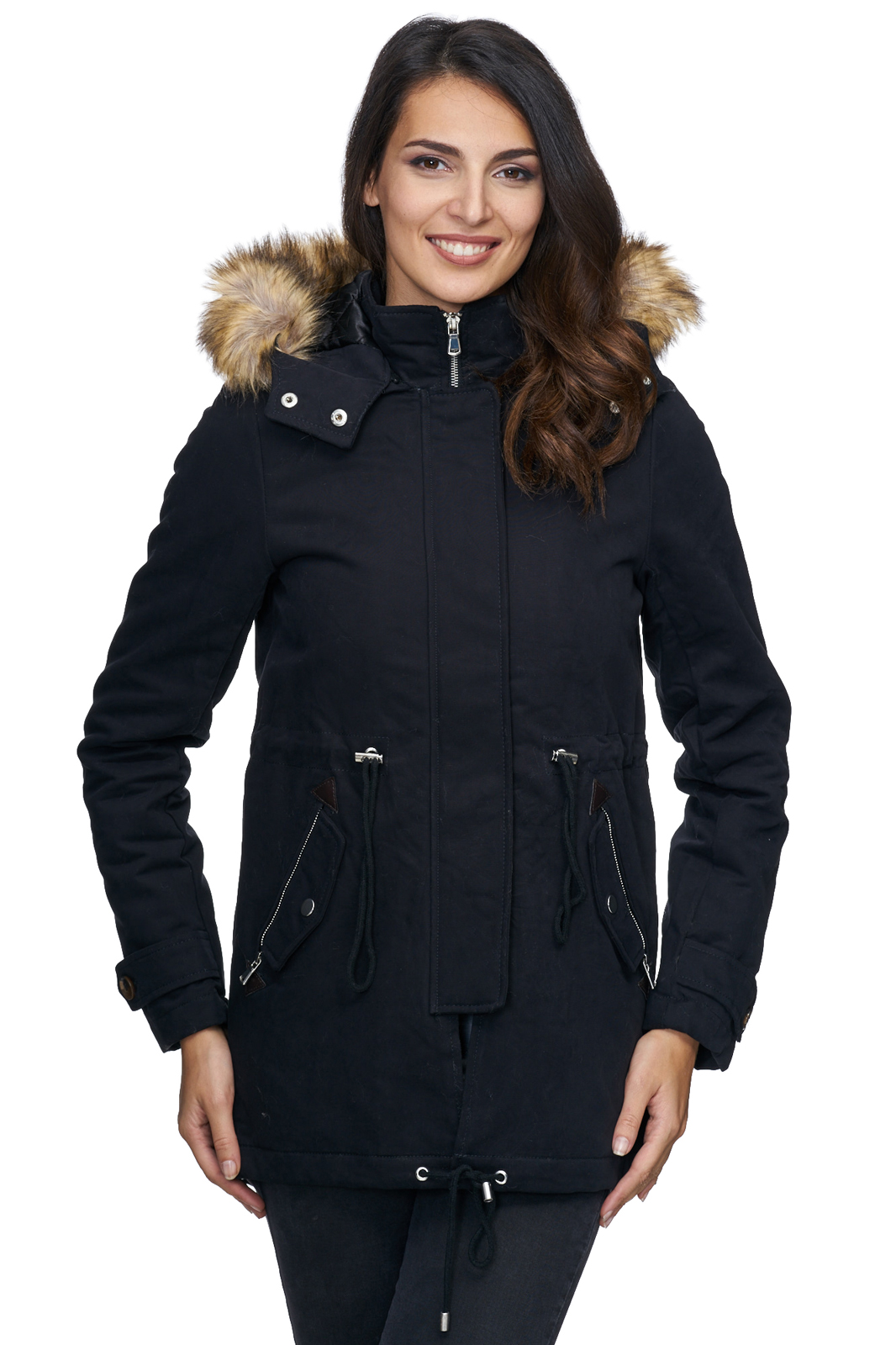 damen winter parka jacke mantel warm winterjacke fell. Black Bedroom Furniture Sets. Home Design Ideas