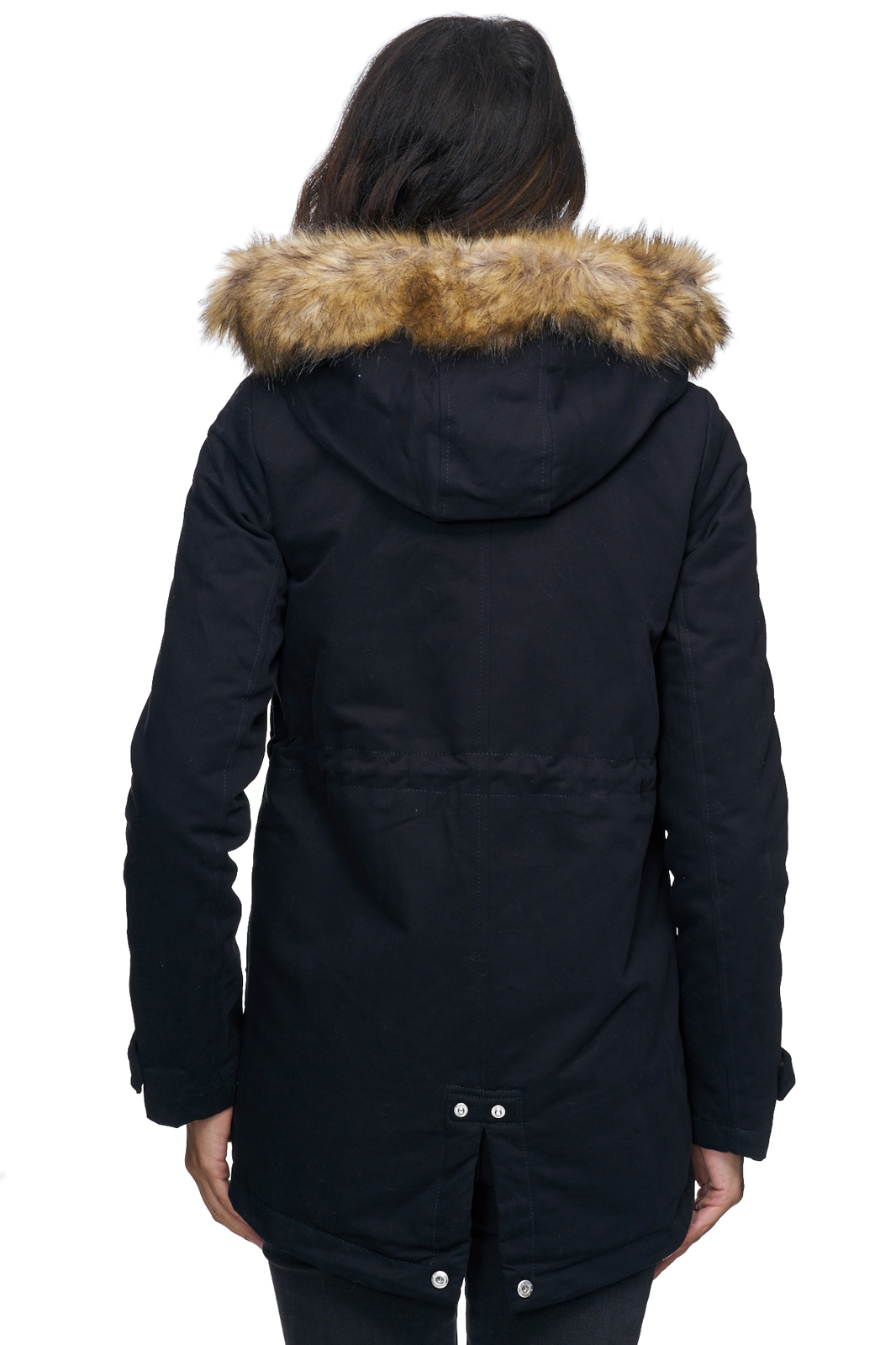damen winter parka jacke mantel warm winterjacke fell schwarz khaki d 236 neu ebay. Black Bedroom Furniture Sets. Home Design Ideas