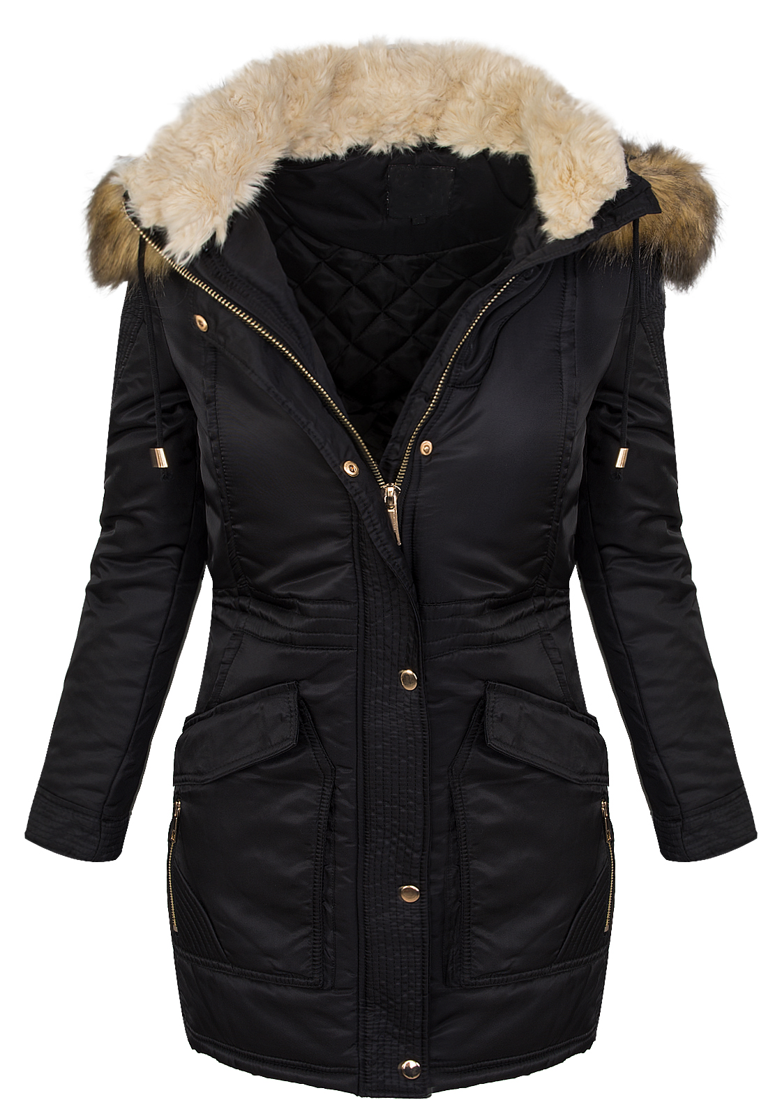 designer damen winter mantel jacke parka lang winterjacke. Black Bedroom Furniture Sets. Home Design Ideas