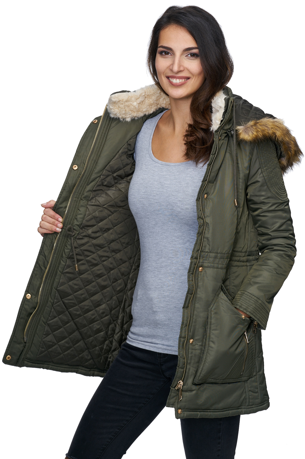 designer damen winter mantel jacke parka lang winterjacke. Black Bedroom Furniture Sets. Home Design Ideas