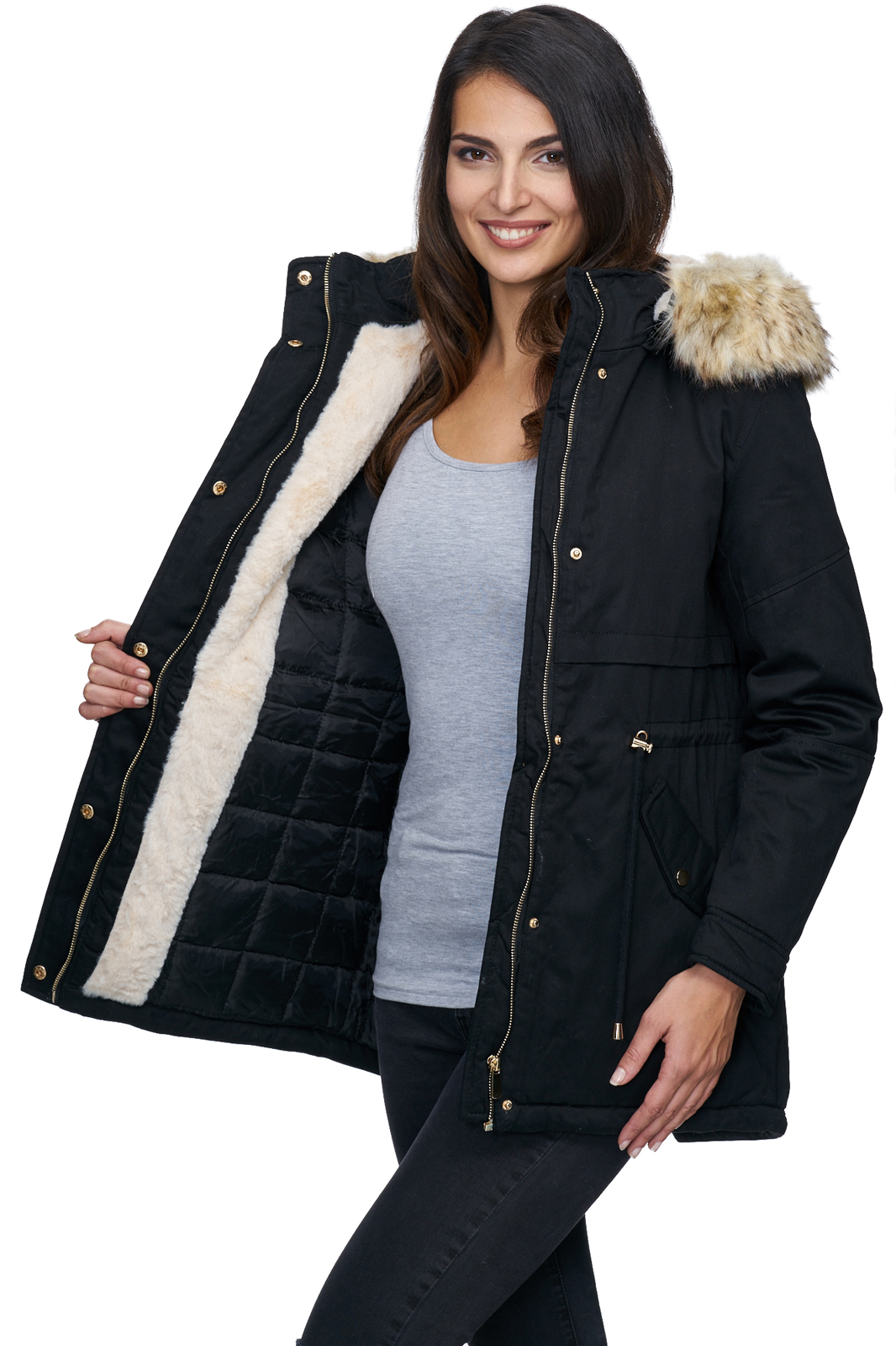 designer damen winterjacke parka warm mantel winter jacke. Black Bedroom Furniture Sets. Home Design Ideas