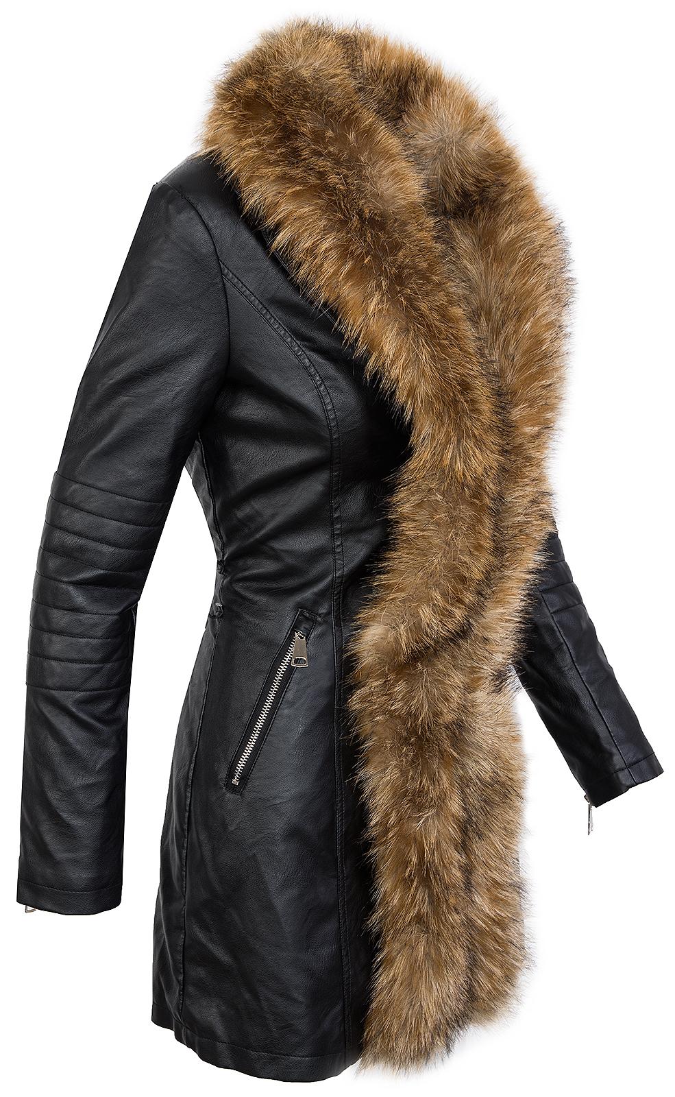 damen kunstleder jacke mantel warm lederoptik bergangsjacke fellkragen d 249 ebay. Black Bedroom Furniture Sets. Home Design Ideas