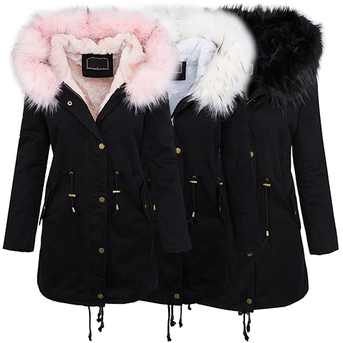parka damen jacke winterjacke xxl fellkapuze gef ttert. Black Bedroom Furniture Sets. Home Design Ideas