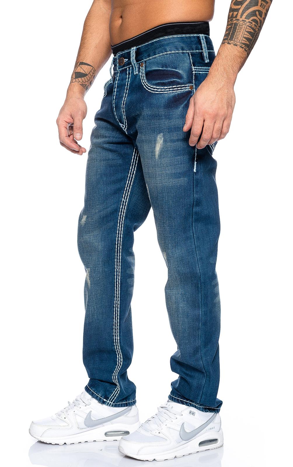 rock creek designer herren jeans hose wei e zier n hte denim rc 2084 w29 w44 ebay. Black Bedroom Furniture Sets. Home Design Ideas