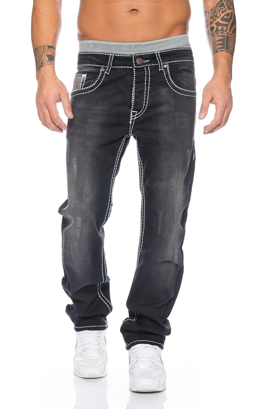 rockcreek herren denim designer jeans hose schwarz dicke wei e n hte neu rc 2047. Black Bedroom Furniture Sets. Home Design Ideas