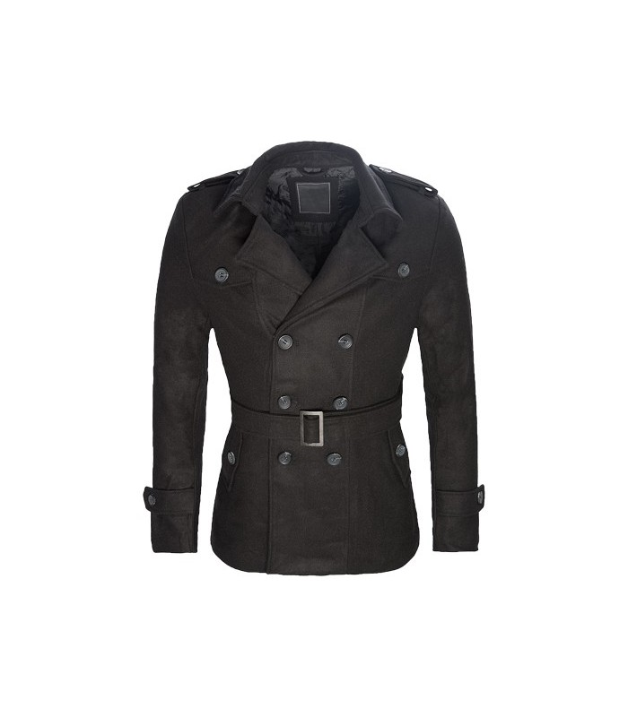 Herren Mantel Wollmantel Übergangs Jacke Trenchcoat Style Schwarz warm