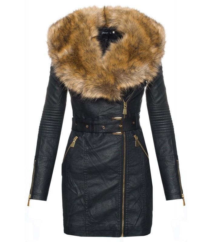 damen kunstleder jacke bergangsjacke damen mantel fellkragen winterjacke kaufen. Black Bedroom Furniture Sets. Home Design Ideas
