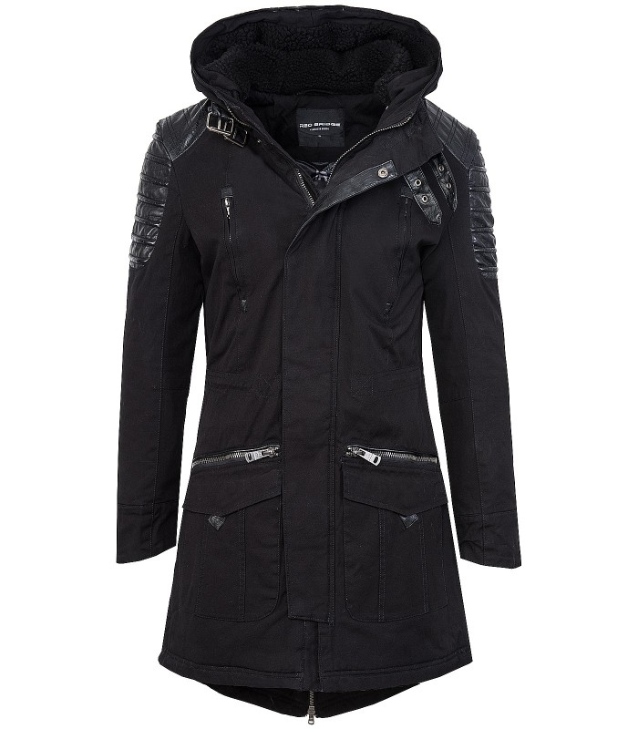 detailed look 6b1f3 d9465 Winter jacke herren mantel herrenjacke parka schwarz kapuze lang warm H-102