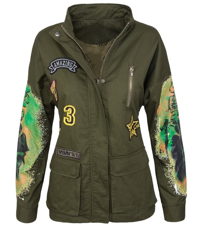 Damen Army-Style Jacke Übergangs Jacke mit Print D-291