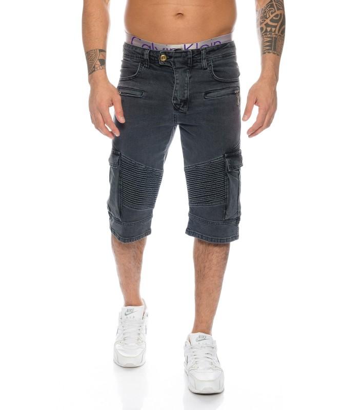 Herren Bermuda Biker Shorts Jeanshose Schwarz kurze Hose