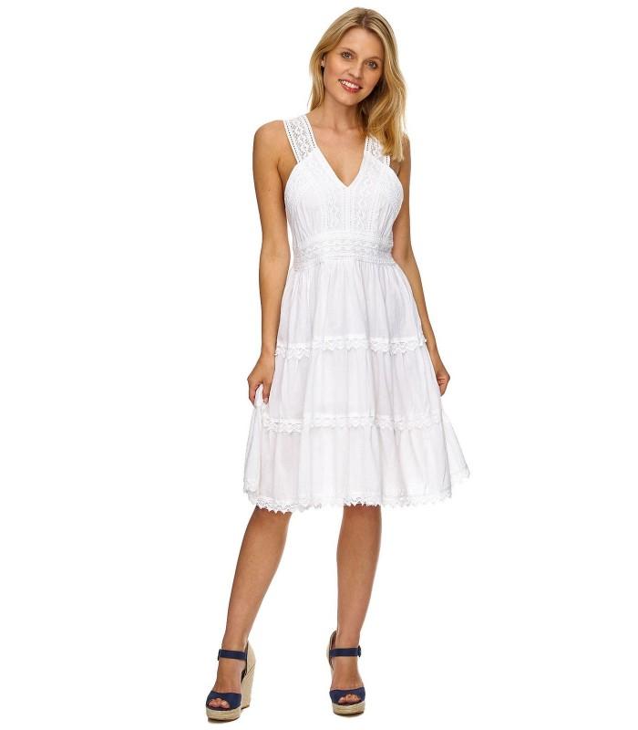 Elegantes Damen Kleid Sommerkleid Weiß Kleider Abend ...