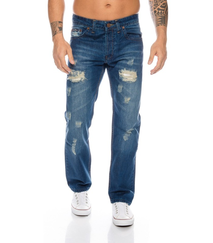 HERREN JEANS HOSE DESTROYED Stylische VINTAGE WASH BLAU RC-2015