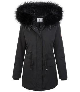 Damen Winterjacke Outdoor-Style Schwarz mit Kunstfellkragen D-346