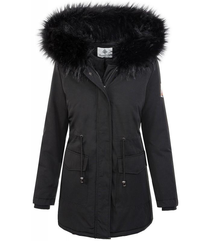 6987379e15b972 Damen Winterjacke Outdoor Jacke Schwarz Kunstfellkragen D-346