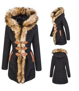 Designer Damen Winter Mantel Winterjacke gefüttert Kunstfellkragen