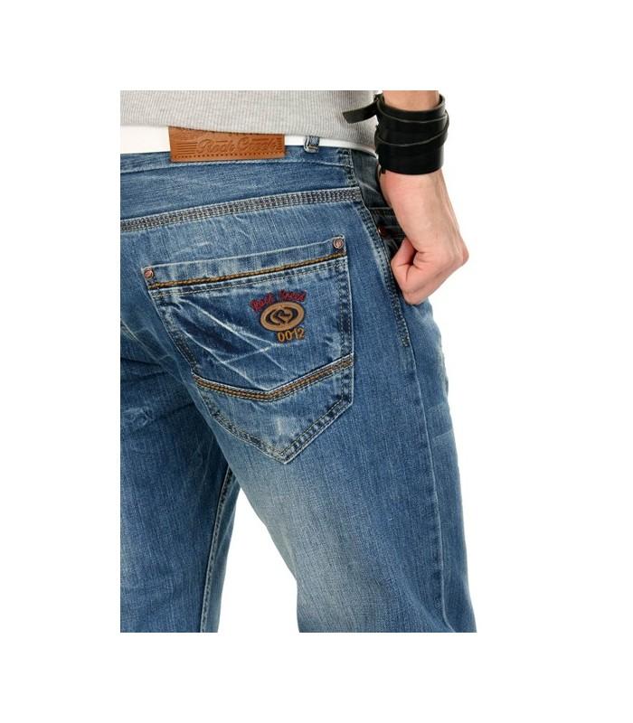 Herren Raw Jeans Hose Vintage Blau Regular Straight Clubwear RC-2032