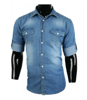 Jeanshemd DENIM Langarm Jeans Blau Stonewashed