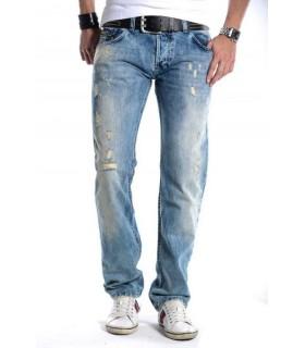 Herren Jeans Denim Vintage Blautöne Laser Effekt H-202
