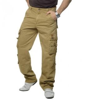 Cargo Herren Hose Loose Fit Hose Cargohose Chino Hose Jeans Beige Männerhose