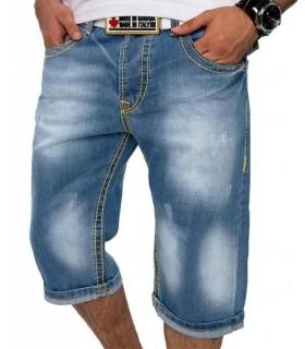 Herren Bermuda Jeans Hose Herrenshorts dicke Nähte Vintage