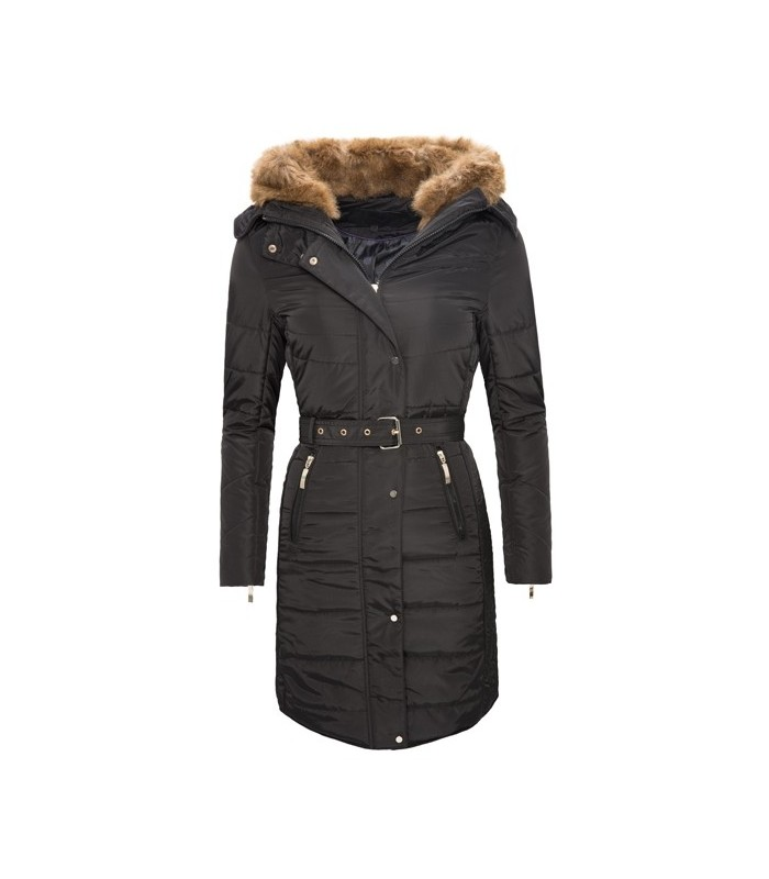 Damen Winter Mantel Steppjacke Kunstfell D 104