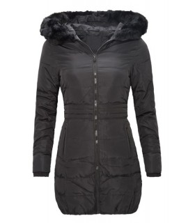 Damen Mantel Parka Winterjacke Daunenjacke Schwarz lang warm