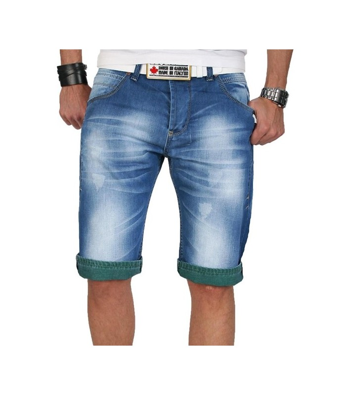 289fdbbc39b7 Herren Shorts Bermuda kurze Jeans Hose BLAU Capri