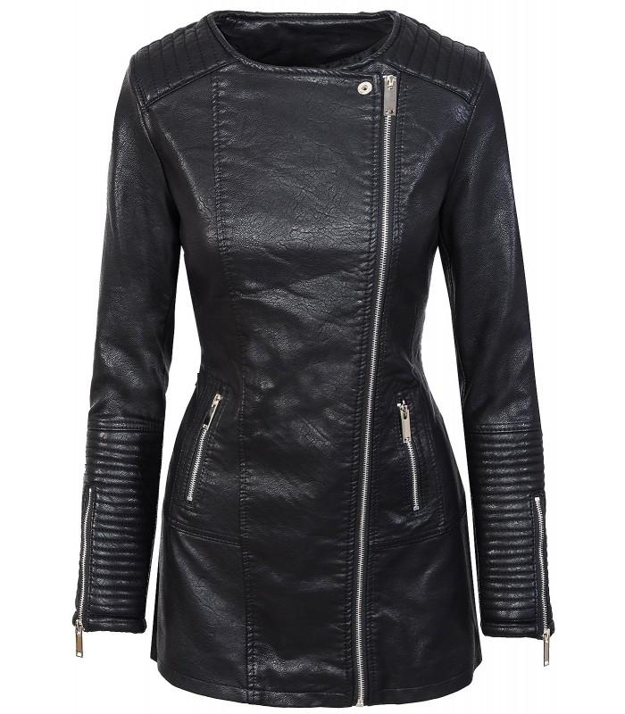 Damen Mantel Kunstledermantel Bikerjacke Übergangsjacke Schwarz