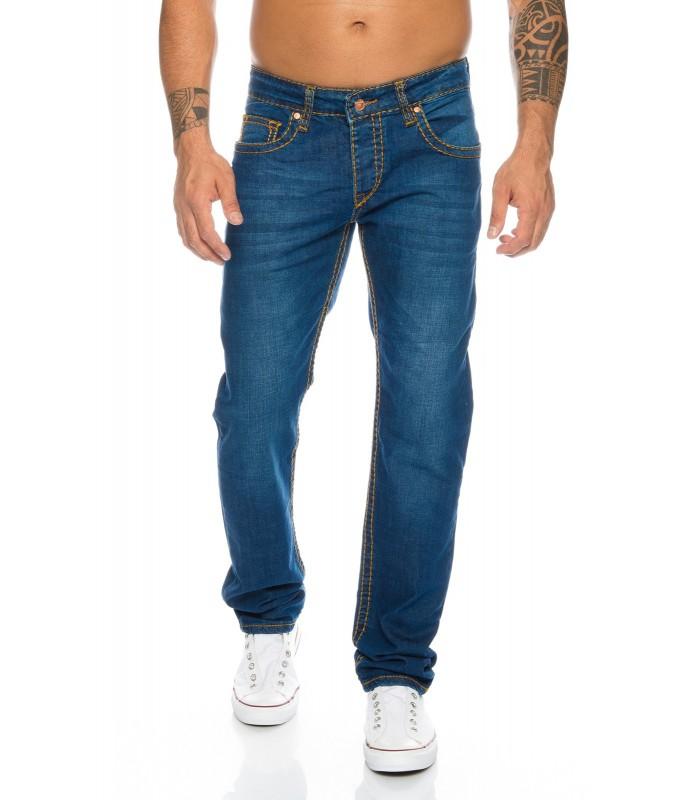 Designer Herren Jeans Hose dicke Nähte Clubwear Jeans Blau Vintage Style H-118