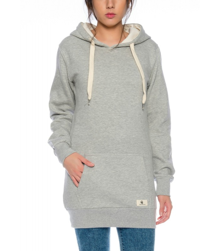 Damen Kapuzenpullover Hoodie Sweatshirt Long Longline Sweat D-377