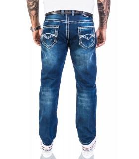 Rock Creek Herren Jeans Hose Blau weiße dicke Nähte RC-2056
