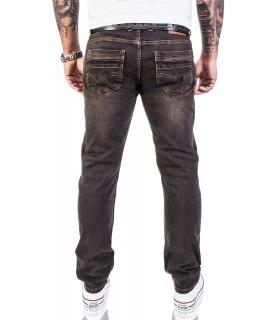 Lorenzo Loren Designer Herren Jeans Hose Denim Stonewash Straight-Cut