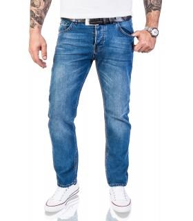 Lorenzo Loren Herren Jeans Hose Used Look Hellblau LL-327