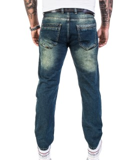 Lorenzo Loren Herren Designer Jeans Hose Dirty-Wash Jeans Denim Use