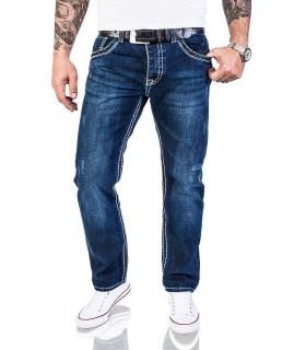 Herren Straight Cut Jeans HOSE Dunkblau dicke Nähte Clubwear