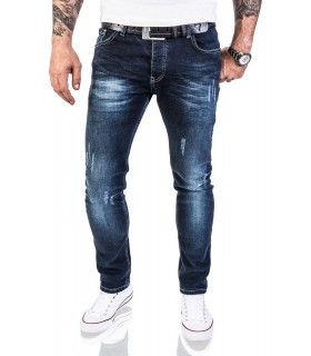 Rock Creek Herren Jeans Stretch Slim Fit Dunkelblau Used Look RC-2118