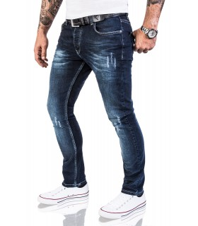 Rock Creek Herren Jeans Stretch Slim Fit Dunkelblau Used Look RC-2118