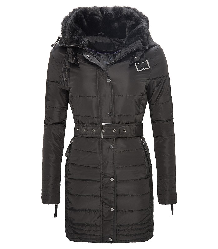 Damen Winter Mantel Steppjacke Schwarz D 106